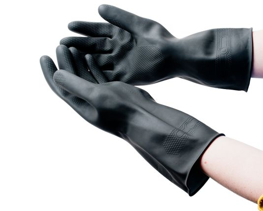 Flock Lined Large Rubber Gloves